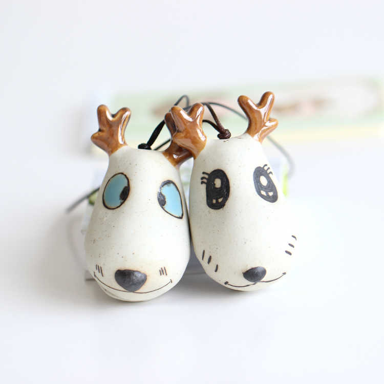 Lovely of hand-painted ceramic cartoon content bells chinese style hang small adorn article free shipping #1290