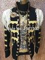 2017 Новая мода джентльмен черное золото блесток куртка стильный певица пальто брюки мужские ночной клуб джаз-бар танцор epaulet костюм