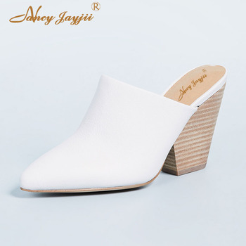 White Mules Cork Wooden Woman Slippers Slides Suoer High Spike Heels 12cm Ladies Shoes Sexy Fashion Dress Causal Plus Size 45 39