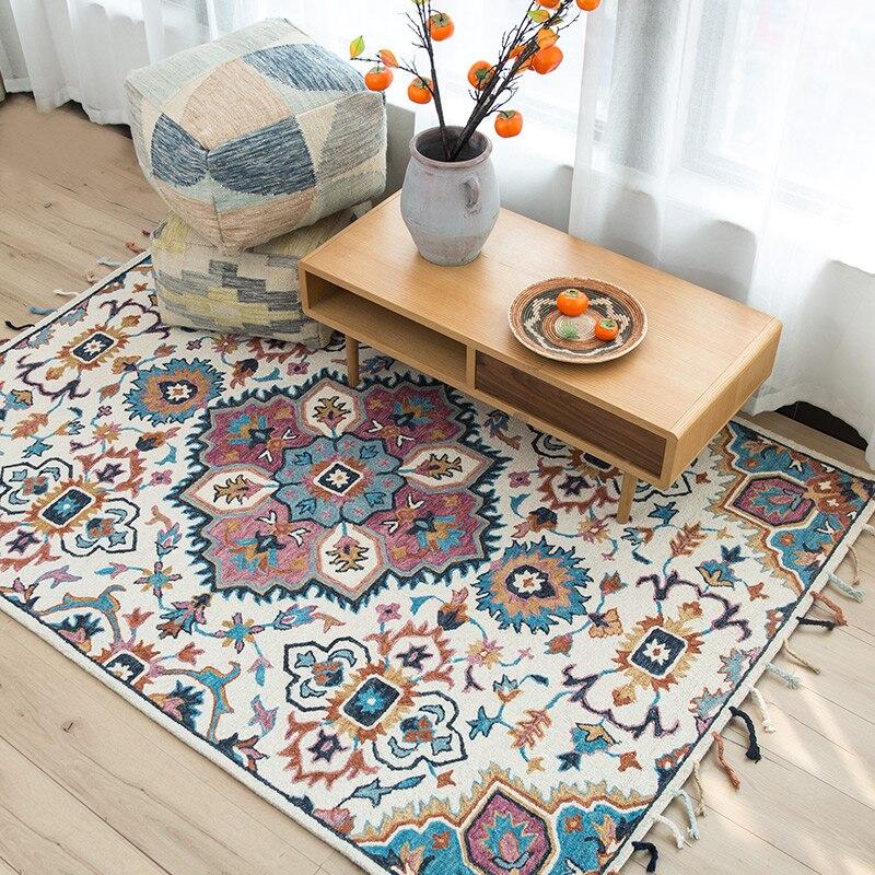 Kilim style laine fait à la main magnifique tapis de chevet, 1.5cm épaisseur salon table basse tapis, bohême décoration tapis de sol