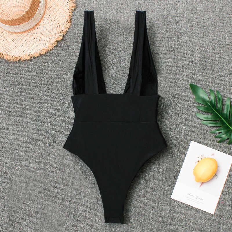 2019 Mulheres Sexy Swimwear Um Pedaço Swimsuit V Profundo Bodysuit Monokini Alta Corte Maiôs Beachwear Natação Desgaste Terno Feminino