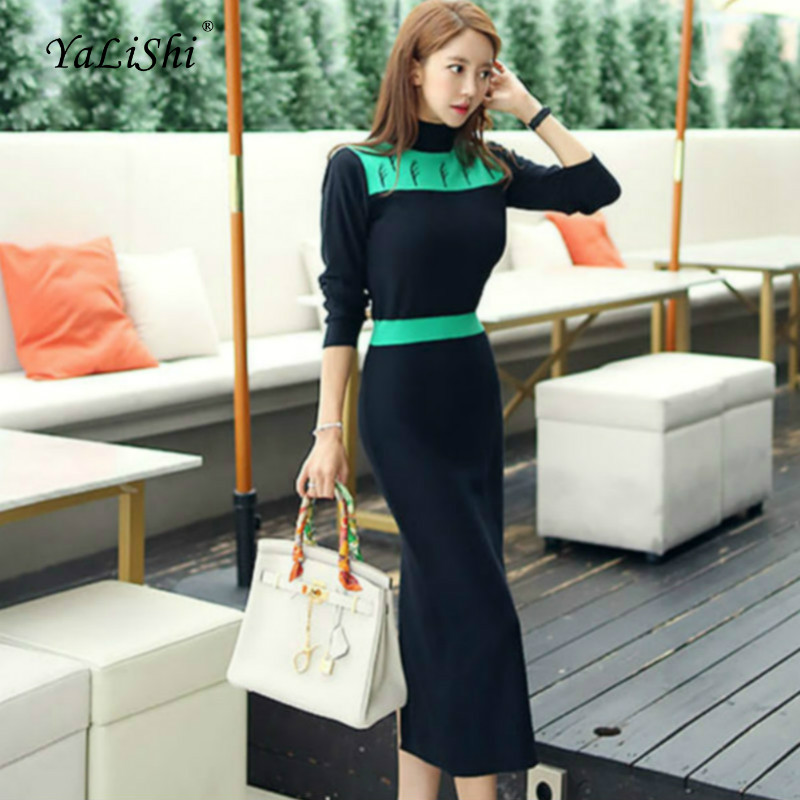 2018 Plus Size Straight Dress Autumn Women Black Grey Long Sleeve Stand Mid calf Casual Sweater Dress Office Ladies Wrap Dresses