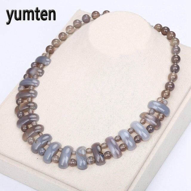 Yumten szary agat duży naszyjnik kamień naturalny kryształ kobiety moda koraliki Handmade biżuteria w stylu Vintage prezenty na wakacje hurtownie 5 sztuk