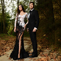 2016 Black and White V Neck Appliqued Lace Long Sleeve Side Slit Novias De Festa Prom Dresses