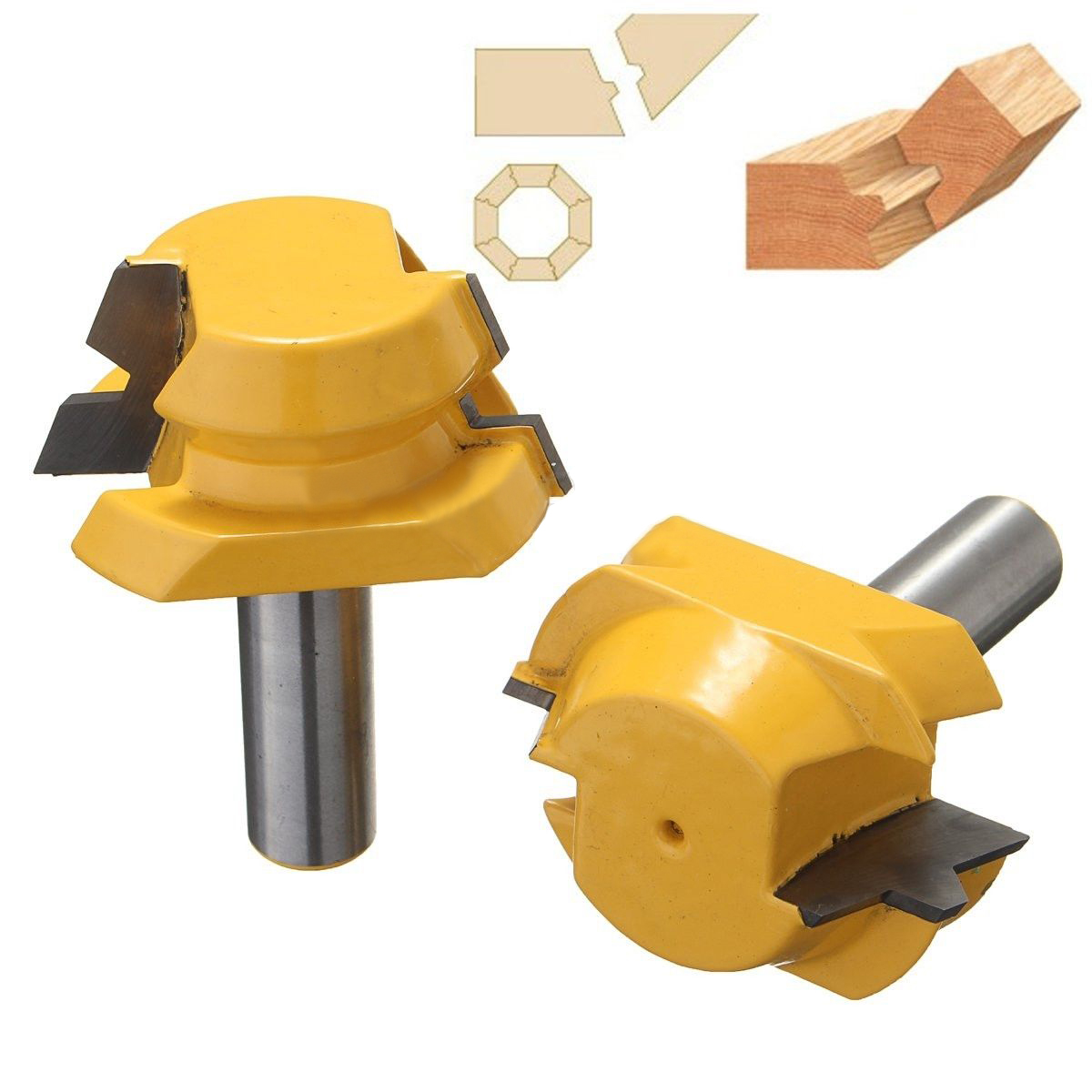 Mayitr 2pcs 1/2 Shank Wood Router Bit Durable Carbide Alloy 22.5 Degree Router Bits Lock Miter Woodworking Milling Cutter Tools 1pc strong mayitr 1 2 shank 2 1 4 dia bottom cleaning router bit high grade carbide woodworking milling cutter mdf wood tool