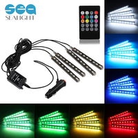 RGB 4PCS LED Strip Car Light LED Strip 12V 6W 16 Colors Car Styling Decorative Atmosphere Lamps Car Interior Light With Remote