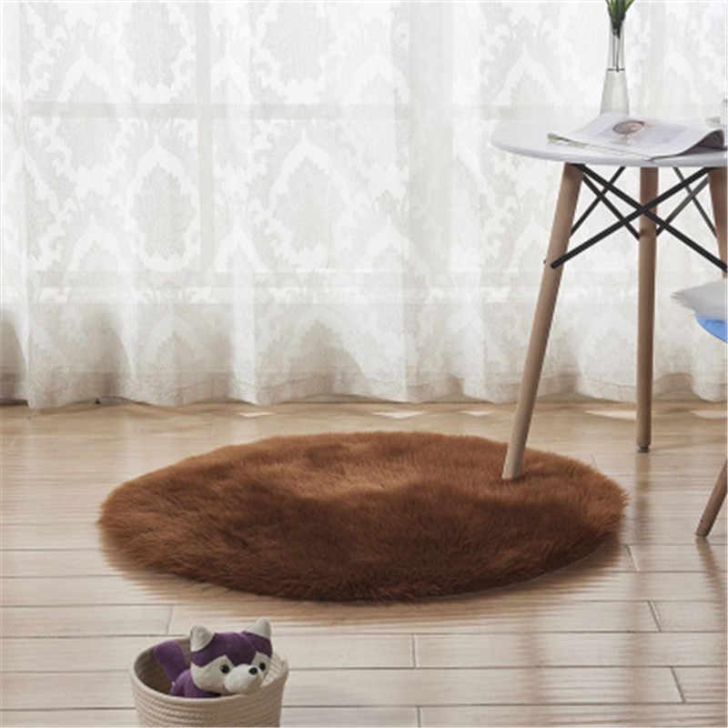 Yuvarlak Halı Taklit Avustralya Koyun Yünü minder oturma odası kahve sehpası Paspaslar Çocuk Battaniye Yatak Odası Yoga battaniye