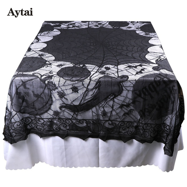 Aytai 5pcs Spider Web Lace Tablecloth Halloween Decoration Table Cover With  Pumpkin Bat Ghost Design Scary