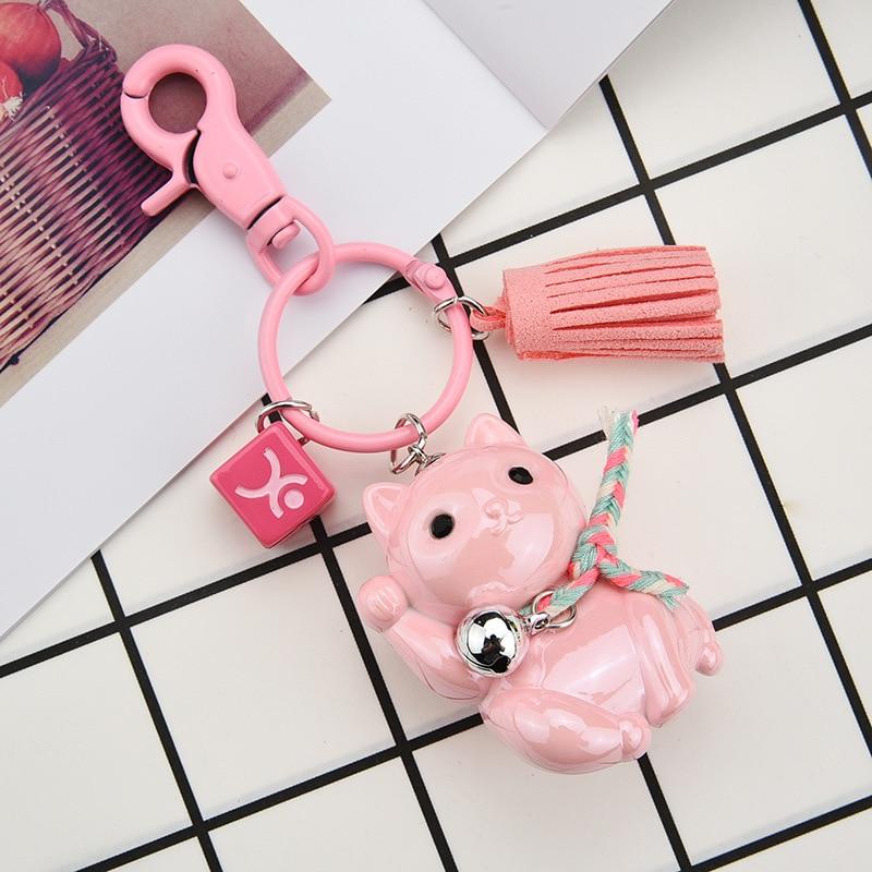 Cute Lucky Cat Keychain Car Creative Cartoon Couple Keychain Bell Pendant Car KeyRing Men And Women Bag Hanging Jewelry  K2268