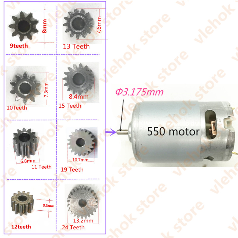 9T 10T 11T 12T 13T 15T 19T 24T Gear for RS550 BOSCH MAKITA DEWALT HITACHI Milwaukee WORX RS-550 Motor 9 10 11 12 13 15 19 Teeth image