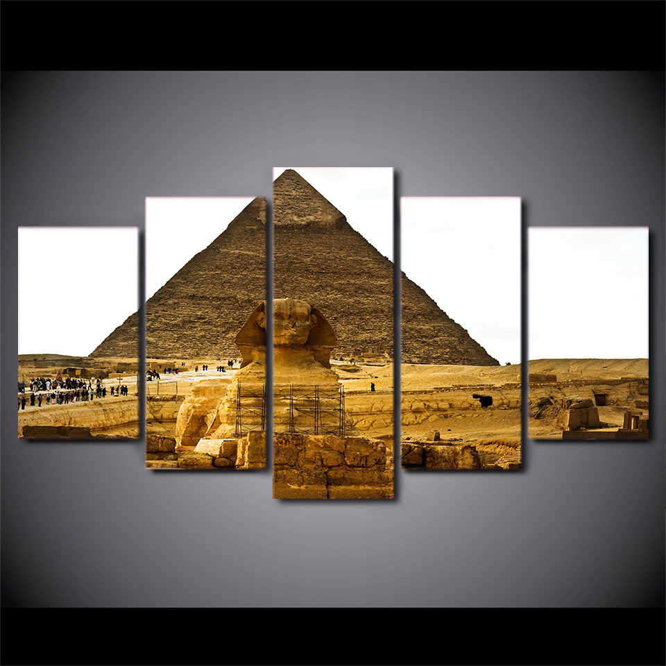 5 Piece HD Printed Pharaoh Egypt Pyramid Framed Wall Picture Art Poster Painting On Canvas For Living Room Affiche Decoration