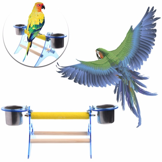 Parrot Perch Stand Platform Play Fun Toys Pet Wooden Playstand Cup For Bird Cage 1