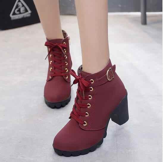 2019 Nova Outono Inverno Mulheres Botas de Alta Qualidade Sólidos Lace-up Senhoras Europeus sapatos PU Moda Botas de salto alto tamanho grande 35-43