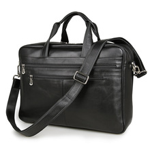 Vintage Genuine Leather Briefcase Men's Business Portable Office Bag Black Men Messenger Bag 15″ Laptop Handbag Travel Bag J7319