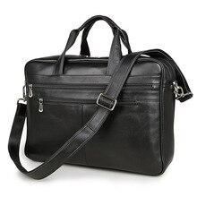 Vintage Genuine Leather Briefcase Men's Portfolio Office Male Bag Black Men Messenger Bag 15″ Laptop Handbag Travel Bag J7319