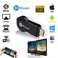 Wecast c2 + sem fio wifi display tv dongle hdmi streaming media player airplay espelhamento miracast dlna para android/ios/windows