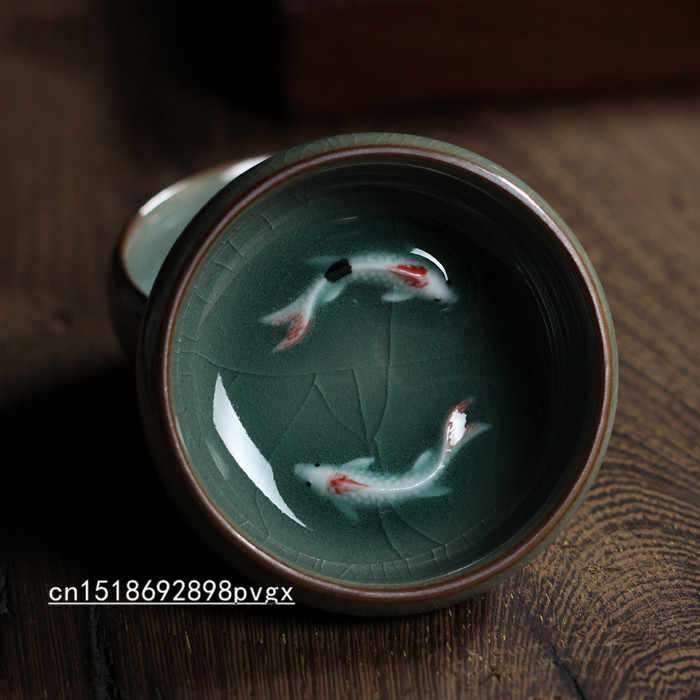 2pcs/lot Celadon Carp Tea Cup Longquan Chinse fish Kung Fu cups / Binglie glaze carp cups / small tea bowl