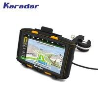 Karadar 2017 Лучший Водонепроницаемый IPX7 мотоциклетные GPS Android 4.4.3 с WI FI Bluetooth FM AV в IPS 854*480 экран Оперативная память 1 ГБ