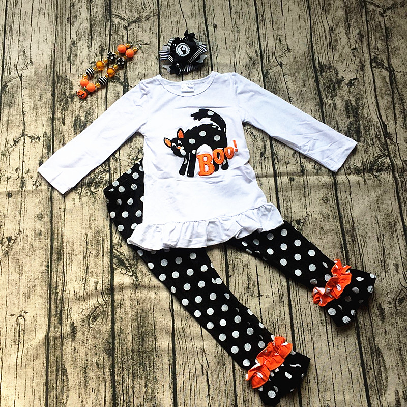 free shipping new baby girls cat dot halloween outfit baby kids boutique sets with matching bow halloween costumes girl clothing halloween rhinestone cat black pettitop girl green zebra pettiskirt outfit 1 8y mamg1226