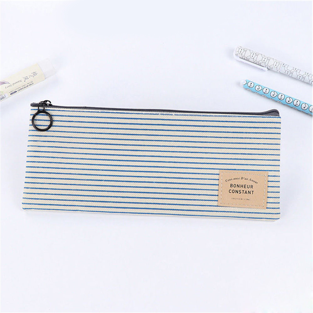 Storage Pen Bag Grid Organizer Students Zipper Makeup Cosmetic Pouch Simple Stationery Pencil Case Canvas