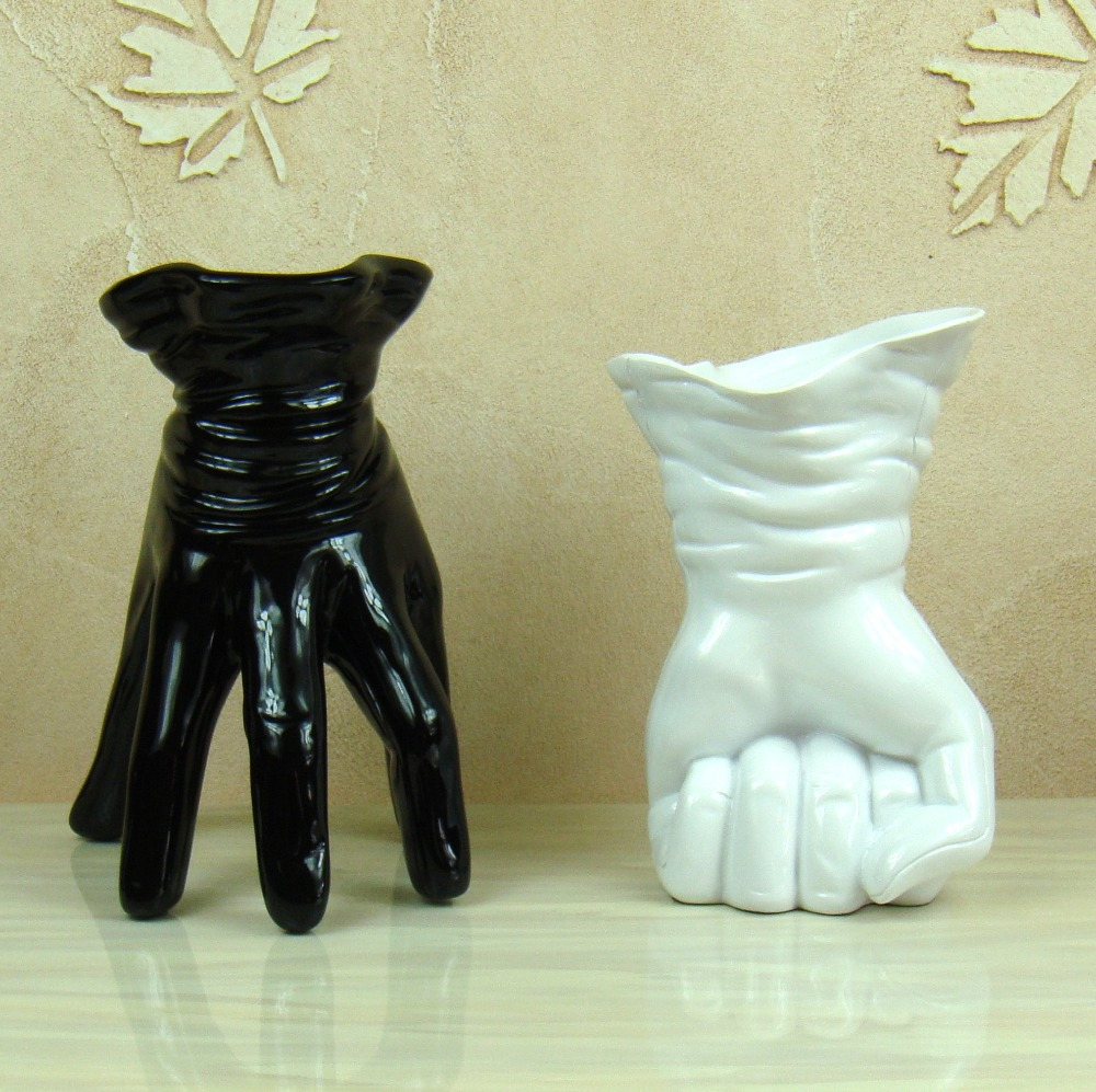 Unique Hand Shape Vase Decorative Resin Abstract Glove Flower Holder Trinket Craft Adornment Furnishing for Home Office Cafe Pub