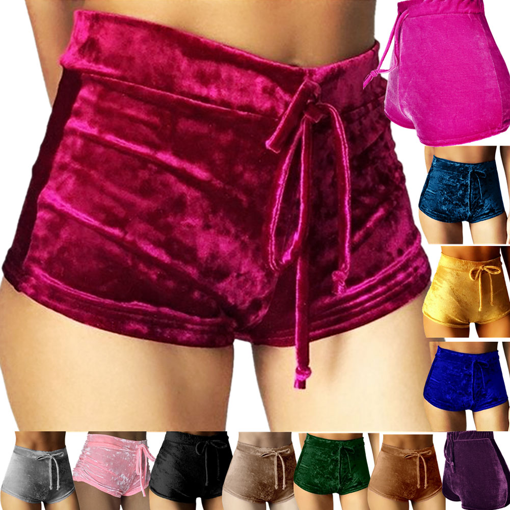 2019  Women Pink Velvet Shorts Fashion Sexy Bodycon Workout Flannel Short Pants Feminino Pantalones Mujer Fitness Soft Sportwear