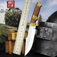 Tactical Authentic self defense D2 straight knife outdoor survival Forge steel hardness tactical copper handle Handmade knife