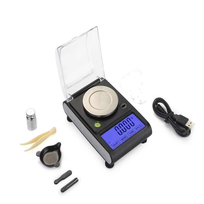 ميزان رقمي إلكتروني 50 جم 0.001 جم دقة 0.001 جم لمس LCD مجوهرات رقمية ميزان وزن عد المختبر