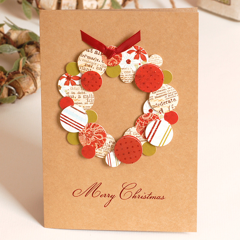 Mix 6 design kraft paper handwork merry christmas tree greeting mix 6 design kraft paper handwork merry christmas tree greeting cards postcards birthday gift message card thanksgiving card in cards invitations from m4hsunfo
