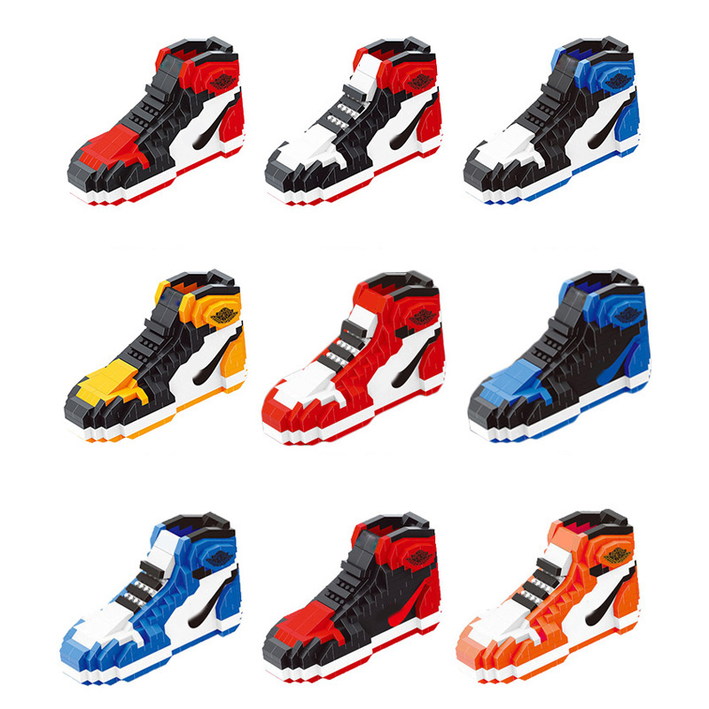 tout neuf 8eca0 08836 US $8.95 39% OFF|Hot classic air Jordan 1 sport basketrball shoe micro  diamond building block model aj1 nanoblock assemable bricks toy  collection-in ...