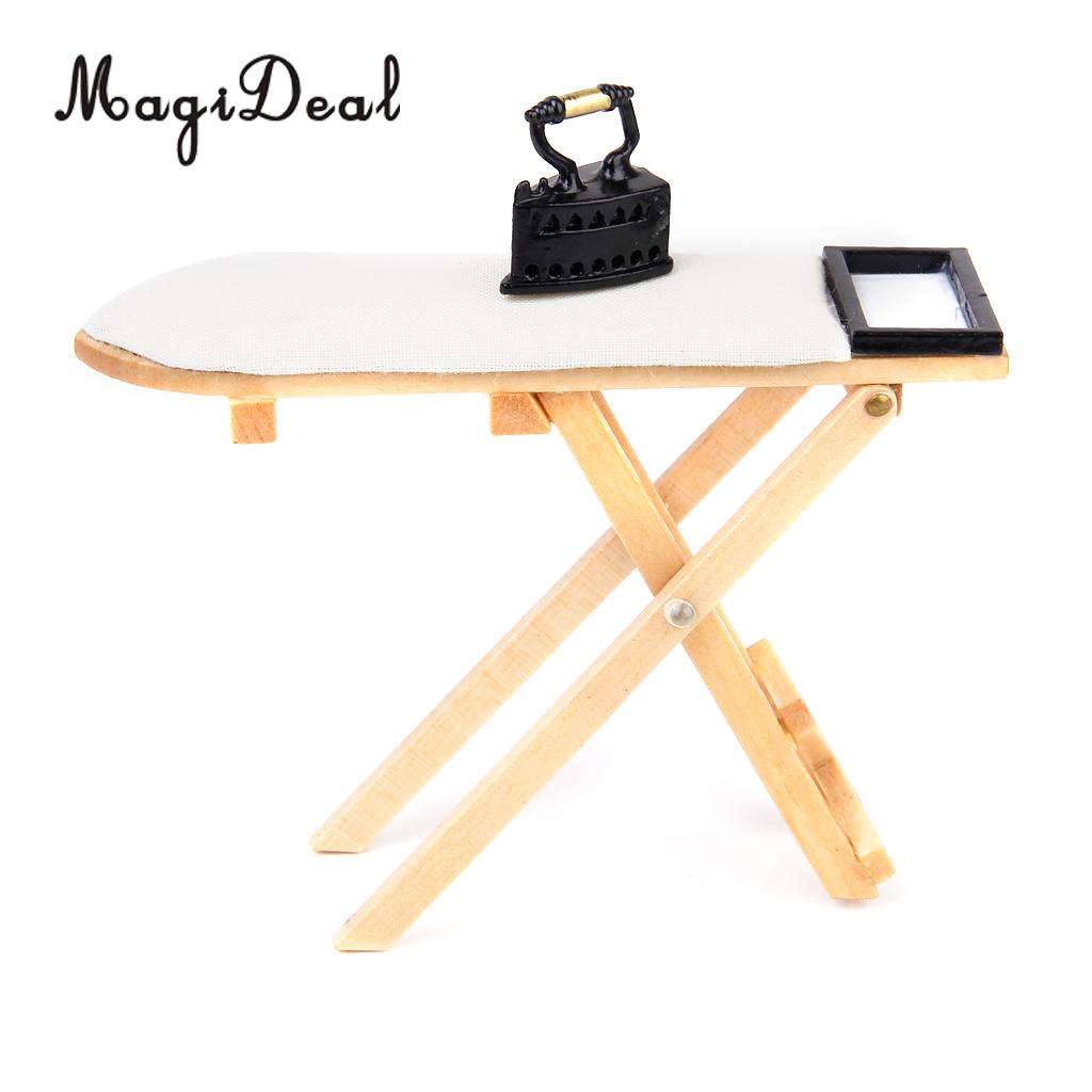 MagiDeal Cute 1:12 Scale Doll House Miniature Iron With Ironing Board Set For Dollhouse Furniture Toy Decoration