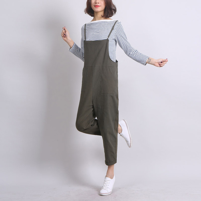 Ankle-Length Women Loose Suspender Trousers Solid Color Casual High Waist Overalls Autumn Summer Jumpsuits Female Long Pants