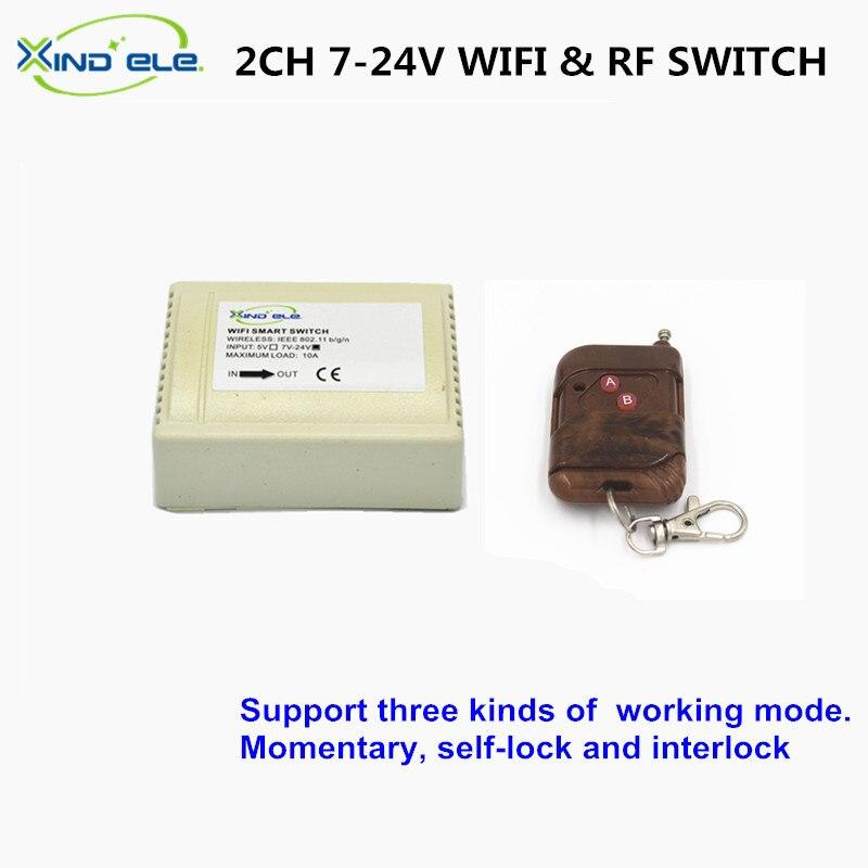 ELE XIND RF WiFi Interruptor 2CH 7 V 12 V 24 V DC 10A Luz de Casa inteligente In