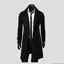 2018 Mens Overcoat Winter Coat Casual Classic Men Trenchs Double breasted Fit Turn down Collar Windproof