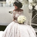 Luxury Bateau Sheer Long Sleeve with Lace Beads Flowers Arabic Ball Gown Long Train Wedding Dress 2016 Vestido