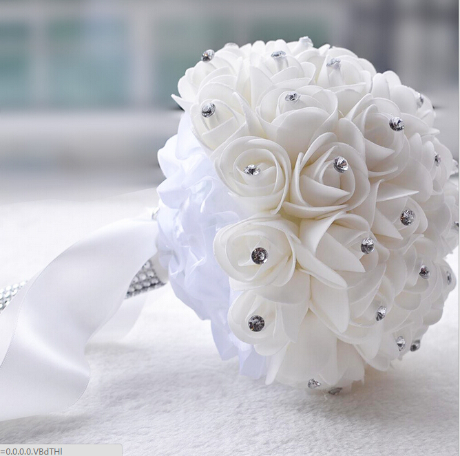 Beautiful White Ivory Artificial Flower Wedding Bouquets Bridal Bouquet Bridesmaid Rose Crystal In From