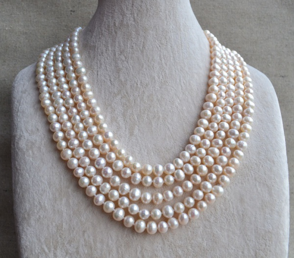 Classic Luxury Natural freshwater Pearl beaded long Necklace 100 inch