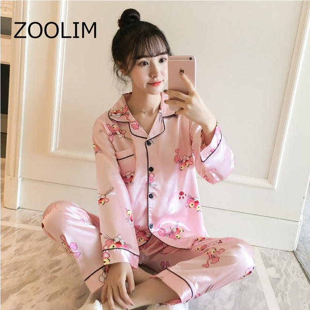 Autumn Cute Animal Parttern Satin Sleepwear Nightwear pink Panther Silk  Pajamas for Women Long Sleeve Women s Pajamas with Pants 6ace6dde2