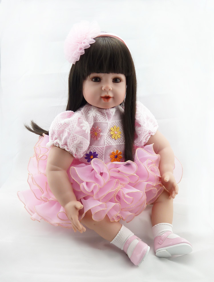fashion soft girl reborn doll de silicone menina 55cm doll Straight hair princess babies wear pink dress for girls Toys giftfashion soft girl reborn doll de silicone menina 55cm doll Straight hair princess babies wear pink dress for girls Toys gift