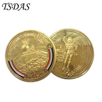 Low Price FRANCE Coin Colorful Pure Gold Plated Coin 40*3mm, Metal Coin Come With Round Box For 2016 Christmas