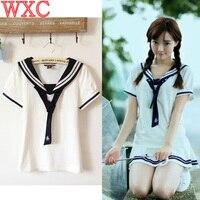 Lolita Summer Student Youth Girls Fresh T Shirts Preppy Style Short Sleeve Sailor Collar Casual Shirts