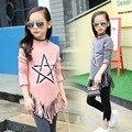 Детские футболки девушки топы с длинным рукавом 2017 весна auutmn кистями подростка, девочки футболка основной серый розовый одежда