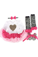 ABWE 4pcs Set Newborn White Leopard Baby Romper With Tutu Dress Head Band Shoes Leggings Baby