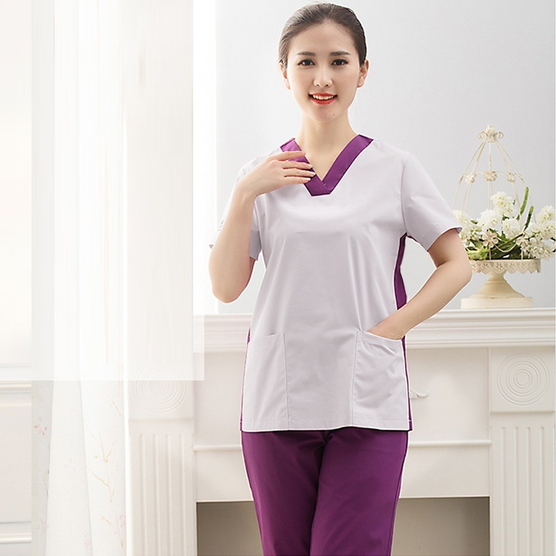 Women's Fashion Medical Scrubs Color Blocking Nursing Uniforms (Choose Scrub TOP/Pants/Whole Set) Pure Cotton Surgery Scrubs