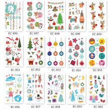 цена на Christmas Cartoon Kid's Waterproof Temporary Tattoos Sticker Santa Claus Elk Christmas Tree Pattern Fake Snowman DesignTattoo