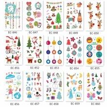 Christmas Cartoon Kids Waterproof Temporary Tattoos Sticker Santa Claus Elk Tree Pattern Fake Snowman DesignTattoo