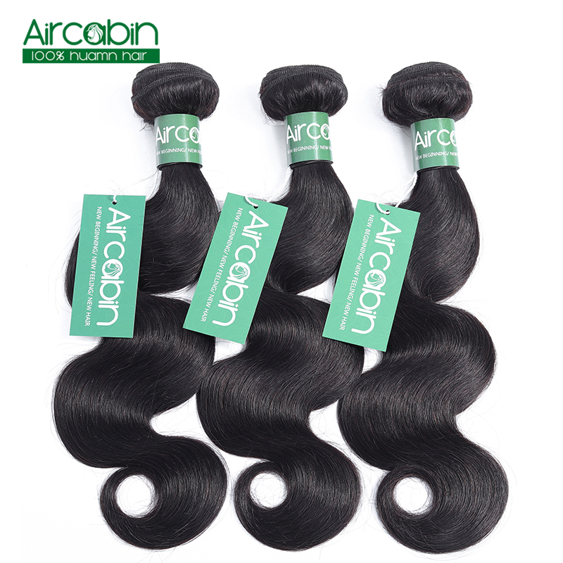 Brazilian Body Wave Bundles Human Hair Weave 3 Bundles AirCabin Remy Hair Extensions Natural Black Can