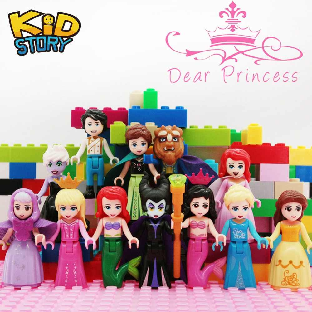 Princess Figures Friends Anna Elsa Maleficent Grinch Monsters Ariel Building Blocks Mini Bricks Toys Girls gifts