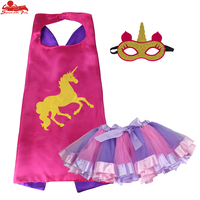 SPECIAL L 27 Rose Unicorn Costumes Girls Ballet Cape Mask Dance Pink Tutu Skirts Party Unicorn