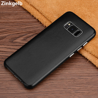 For Samsung Galaxy S8 Case Cover Luxury Thin Genuine Leather Hard Protective Armor Phone Case for Samsung S8 leather Back Cover